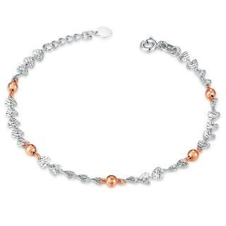 MaBelle - 14K Italian Rose and White Gold Heart and Bead Diamond-Cut Bracelet (6.5'), Women Jewelry in Gift Box