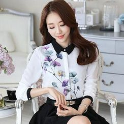 Ashlee - Flower Print Long-Sleeve Chiffon Blouse