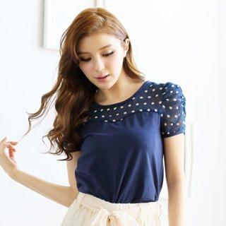 Tokyo Fashion - Dotted Yoke Sweetheart Neckline Top