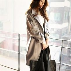 smusal - Raglan-Sleeve Double-Breasted Trench Coat