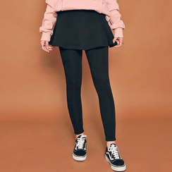 HOTPING - Fleece-Lined Inset Skirt Leggings