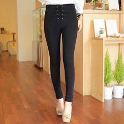 Corella - Lace Up Skinny Pants