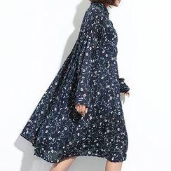 Myrtle - Floral Print Long Sleeve Chiffon Dress