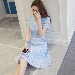 Cherry Dress - Short Sleeve V-Neck Lace Dress
