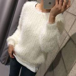 STYLEBYYAM - Round-Neck Furry Knit Top