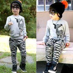 Seashells Kids - Kids Set: Zebra Sweatshirt + Zebra Print Pants