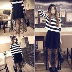 QZ Lady - Set: Striped T-Shirt + Dotted Mesh Maxi Skirt