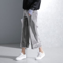 Sonne - Wide-Leg Cropped Velvet Pants