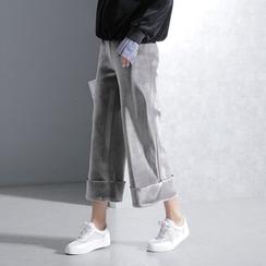 Sonne - 翻边丝绒九分阔腿裤