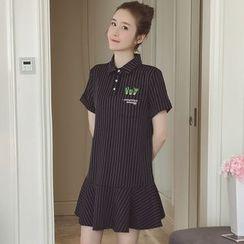Munai - Short-Sleeve Striped Ruffled Dress