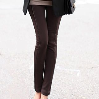 Faux-Leather-Trim Skinny Pants