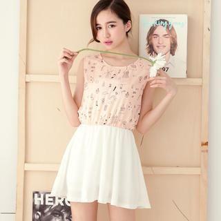 Tokyo Fashion - Printed Panel Chiffon Sleeveless Dress