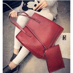 Aishang - 两件套: 仿皮手提袋 + 拉链小袋