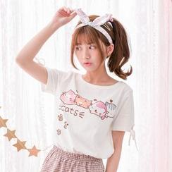 Moriville - 貓貓印花短袖T恤