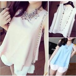 QZ Lady - Layered Sleeveless Chiffon Top