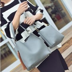 Aishang - Set of 2: Faux Leather Tote + Shoulder Bag