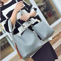 Aishang - 两件套: 仿皮手提袋 + 肩包