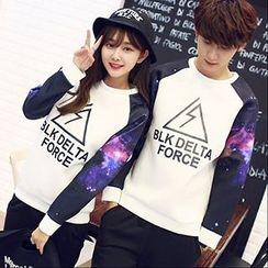 Tabula Rasa - Couple Matching Galaxy Panel Neoprene Sweatshirt