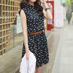 CLICK - Set: Sleeveless Cat Print Shirtdress + Belt