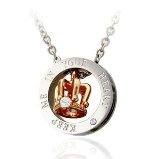ANT TREE - Rhinestone Crown & Ring Couple Pendant