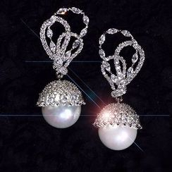 Nanazi Jewelry - Rhinestone Faux Pearl Drop Earrings