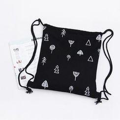Eastin - Drawstring Printed Canvas Shopper Bag