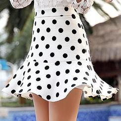 Romantica - Dotted Ruffle-Hem A-Line Skirt
