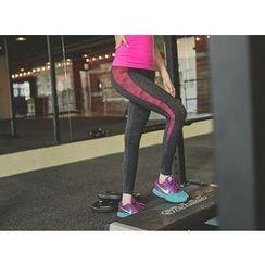UUZONE - Contrast-Trim Gym Leggings