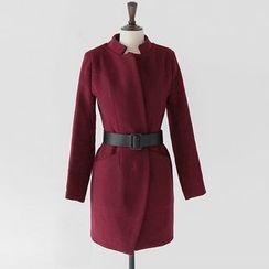 Fashion Street - 純色長款呢子大衣