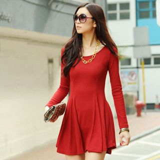 59 Seconds - Long Sleeve Ribbed Skater Dress