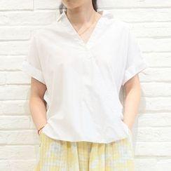Pluvio - Short-Sleeve V-neck Blouse