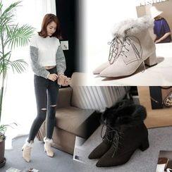 Pangmama - Furry-Trim Chunky-Heel Ankle Boots