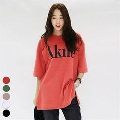 PINKSISLY - Elbow-Sleeve Lettering T-Shirt