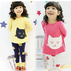 Cuckoo - Kids Set: Cat Print T-Shirt + Leggings