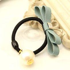 Suu - Faux-Pearl Bow Hair Tie