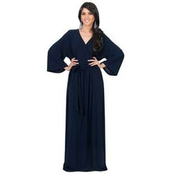 Hotprint - Wrap Front Long-Sleeve Maxi Dress