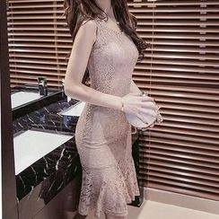 Fashion Street - Sleeveless Lace Panel Sheath Dress