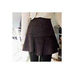 CHERRYKOKO - Asymmetric Ruffle-Hem Mini Skirt