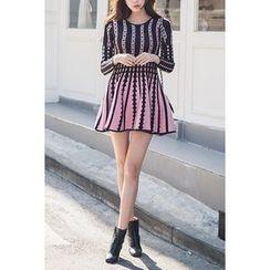 migunstyle - Pattern A-Line Knit Minidress
