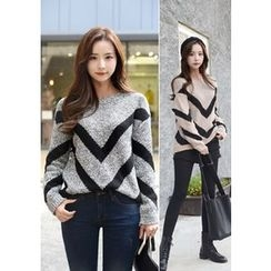 DEEPNY - Round-Neck Contrast-Trim Sweater
