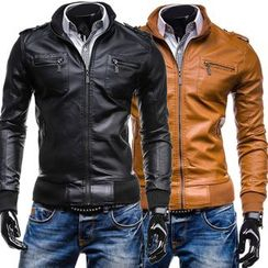Bay Go Mall - Stand-collar Faux Leather Jacket