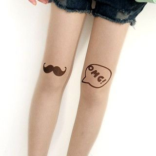 59 Seconds - Mustache & 'OMG' Print Tights
