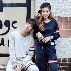 Evolu Fashion - Couple Matching Set: Striped Sweatshirt + Sweatpants