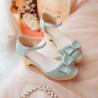 Pastel Pairs - Bow-Accent Heeled Sandals