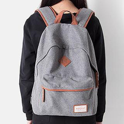 Mr.ace Homme - Faux Leather Trim Tweed Backpack