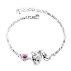 BELEC - 925 Sterling Silver Flowers with Red Cubic Zircon Fox Bracelets