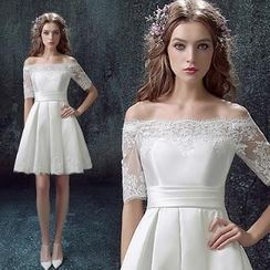 Angel Bridal - Off-Shoulder Lace Short Wedding Dress