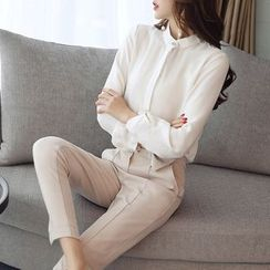 SEYLOS - Set: Plain Long-Sleeve Blouse + Dress Pants