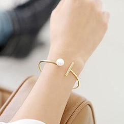 Coolgirl - Faux Pearl Open Bangle