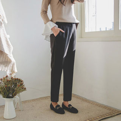 JUSTONE - Brushed-Fleece Lined Tapered Dress Pants